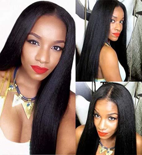 Maxine Hair Italian Yaki Lace Front Wigs Human Hair Pre Plucked Hairline with Baby Hair Virgin Italian Glueless Wigs for Black Women Human Hair 150% Density 12inch