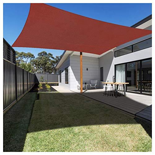 Toldo Vela de Sombra Rectangular, Protección HDPE Transpirable Aislamiento de Calor Rayos UV y Poliéster Impermeable para Exterior, Jardín, Terrazas, Color Vino(Size:3x5m(10×17ft),Color:Rojo óxido)