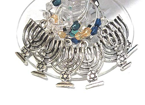 Hanukkah Wine Charms Gift, Menorah Wine Charms, Holiday Wine Glass Tag Identifiers, Hanukkah Party Supplies - 6 Pack