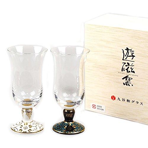 Set of 2 Japanese Kutani Porcelain Glasses Sake Cup Kutaniwa Glass - Hand-painted Dots White & Blue [Japanese Crafts Sakura]