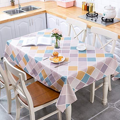 LMDY Mantel de decoración para el hogar de algodón y lino impermeable y resistente al aceite nórdico geométrico alfabeto cocina restaurante mantel, 2, (140*200cm)640g