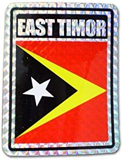 ALBATROS (Pack of 12) East Timor Leste Country Flag Reflective Decal Bumper Sticker for Home and Parades, Official Party, All Weather Indoors Outdoors