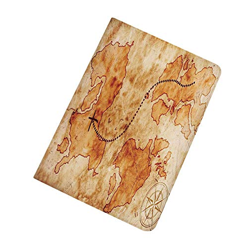 Island Map iPad Mini 5 Case 2019 5th Generation iPad Mini,Authentic Distressed Grunge World Map Wind Rose Compass Pattern Treasure Map Picture Slim Stand Protective Case Smart Cover for 2019 Apple iPa