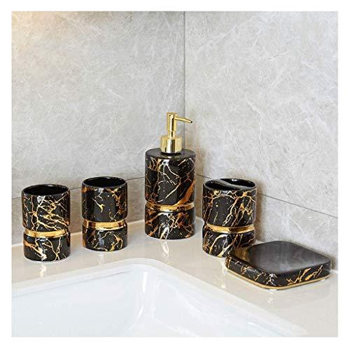 DZX Juego de Accesorios de baño Cerámica nórdica Juego de Accesorios de baño Mármol de imitación Kit de baño Exclusivo Soporte para Cepillo de Dientes Botella de loción de Taza Botella de loción (Col