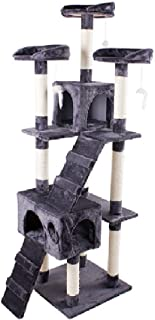 """Mumoo Bear 67"""" Multi-Level Cat Tree Tower, Kitten Condo House with Scratching Posts, Kitty Play Activity Center, Grey"""