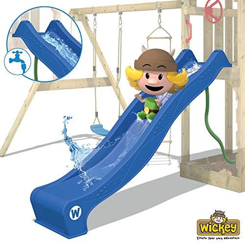 WICKEY Spielturm Klettergerüst TurboFlyer mit Schaukel & blauer Rutsche, Kletterturm mit Sandkasten, Leiter & Spiel-Zubehör - 7