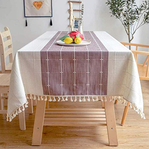 PJPPJH Mantel, Simple y Elegante Camino de Mesa, Mantel de Lino de algodón, Mantel Cuadrado Lavable, para decoración de Mesa de Comedor de Cocina, 140 * 220 cm / 55'* 87'
