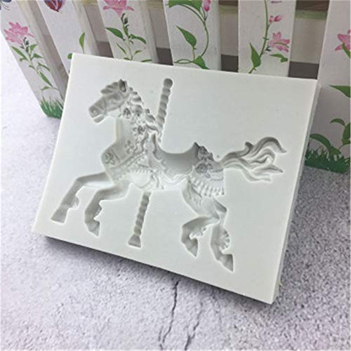 DUOYO 3D Carousel Horse Silicone Soap Mold Fondant Cake Chocolate Mould Polymer Clay Molds DIY Tools