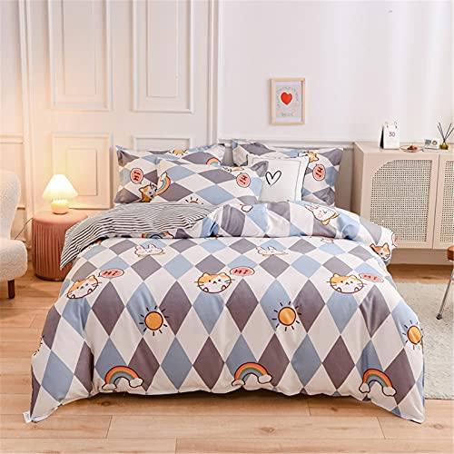 YYSZM Textiles para El Hogar Funda Nórdica Ropa De Cama Moda Simple Juego De 4 Piezas Suave Y Agradable para La Piel 150x200cm