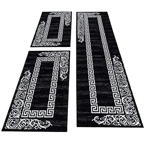 SIMPEX Bettumrandung Läufer Teppich Barock Muster Läuferset 3 teilig Meliert Schlafzimmer Flur Schwarz Weiß, Bettset:2x80x150+1X80x300