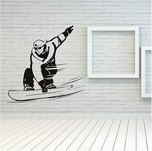 Snowboard mitte auf der Piste Wintersport Wandtattoos Turnhalle Sport Kunst Aufkleber 54x57cm