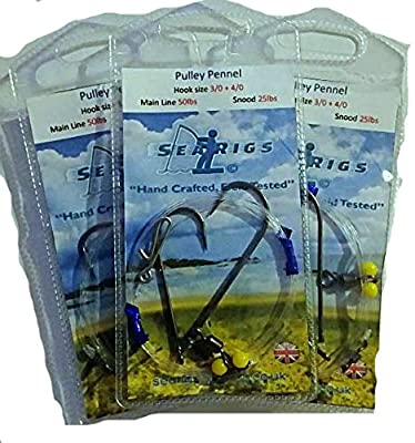 searigs - Sea fishing Pulley Pennel Clip Down Rig 2 x 3/0 Hooks x 3 Rigs - Designed for distance Casting over Rough Ground 50lb/25lb