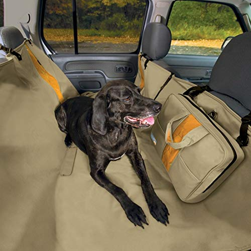 Kurgo Dog Car Seat Cover | Pet Bench Seat Covers | Hammock Style Car Cover | Water Resistant | Scratch Proof | Cars | 55 | Wander Hammock Style | Hampton Sand Khaki