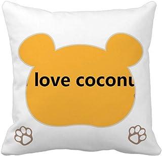 OFFbb-USA Love Seaside Coconut Juice Bear - Funda cuadrada para almohada