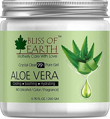 Glamorous Hub Bliss Of Earth 99% puro gel de aloe vera cristalino | 200Gm | Ideal para rostro, cuerpo y cabello | Enfriamiento, Calmante e Hidratante Efectivo | Libre de parabeno