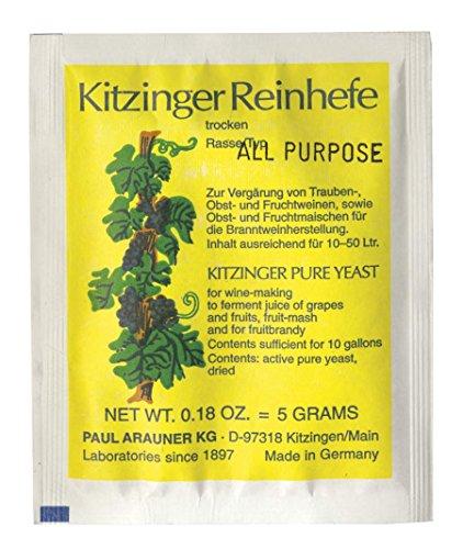 WEINHEFE UNIVERSAL Arauner Kitzinger – Trocken Reinhefe für 50L | Naturhefe | Obstwein hefe | Hefenährsalz | Alkoholhefe | Methefe | Apfelweinhefe