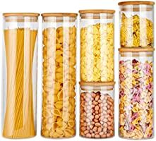 copdrel Glass Food Storage Jars Containers, Glass Storage Jar with Airtight Bamboo Lids Kitchen Glass Canisters For...