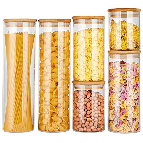 Copdrel Vorratsdosen aus Glas, mit luftdichtem Bambus-Deckel, für Kaffee, Mehl, Zucker, Süßigkeiten, Kekse, Gewürze und mehr, 6er-Set