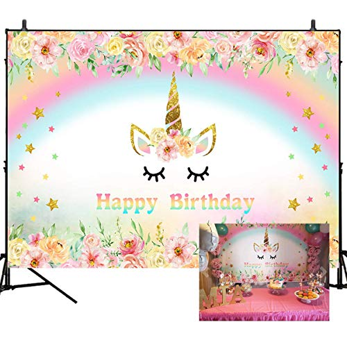 Mehofoto Unicorn Photography Backdrop Flower Rainbow Happy Birthday Background 7x5ft Vinyl Glitter Star Baby Kids Birthday Party Backdrops Photo Booth Banner Decorations