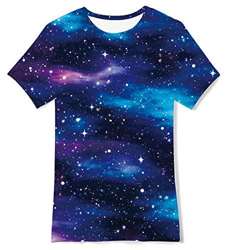 Jubestar Kinder Jungen 3D gedruckte T-Shirts Galaxy Cool Graphic Mädchen Kurzarm Casual Dunkelblau Tops T-Shirt 9-12T für Sport, Wandern