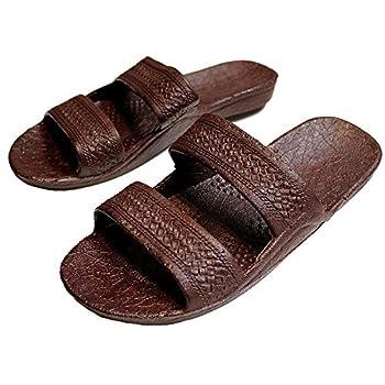 Brown Rubber Slide on Sandal Slippers Double Strap Dark Brown Hawaii Sandal  9