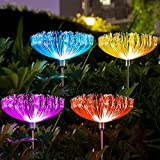 Neporal Solar Garden Lights Outdoor 4 Pack, 7 Color Changing Solar Flowers Garden Lights, Waterproof Outdoor Decorative Solar Jellyfish Light for Yard Patio Garden Pathway Holiday Decorations