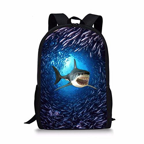 Showudesigns - Mochilas con estampado de animales para la escuela, niños y niñas, tiburón (Azul) - Showudesigns