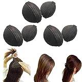 Juego de un par de almohadillas de esponja para realzar y dar volumen al pelo con un diseño que se inserta bajo las capas del pelo, de color negro