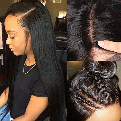 S-noilite Silk Base Full Lace Wigs Pre Plucked 100% Brazilian Human Hair Glueless Straight Silk Top Full Lace Wig With Baby Hair For Black Women Free Part Anywhere 10inch Natural 1B Black