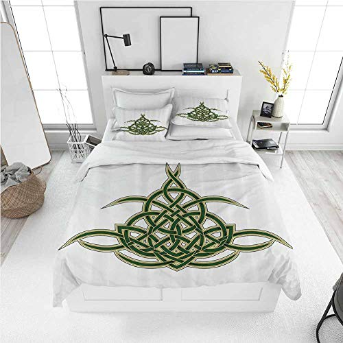 Celtic Decor Collection Queen Size Sheet Set-3 Piece Set, Lightweight Printed Quilt Cover Original Celtic Shield Icon Gothic Design Abstract Scotland Medieval Style Art Print Green Golden