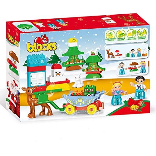 HHCUIJ 46 Uds DIY Duplo Ladrillos Grandes Colorido DIY Bloques de construcción Juguetes de cabaña de Navidad para niños