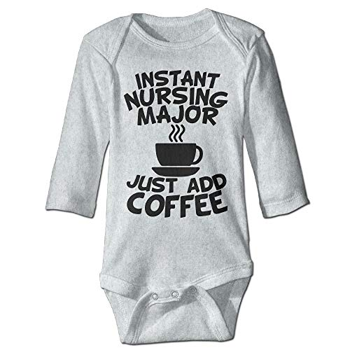 Body de manga larga para beb, unisex, para nios pequeos, de enfermera, instantneo, solo tienes que aadir caf, para nios, de manga larga, traje de sol, color ceniza