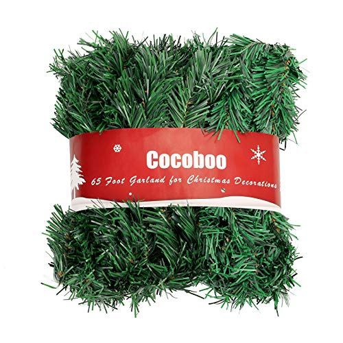 COCOBOO 65 Feet Christmas Garland Soft Green Garland for Christmas Party Home Wedding Decorations