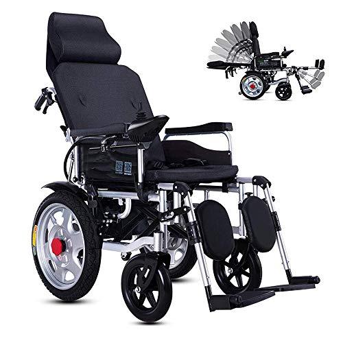 WMMY Faltbarer Elektrischer Rollstuhl mit Polymer Li-Ion Battery, Leichter elektrischer Elektrorollstuhl Reclining, für ältere und behinderte Menschen,Schwarz