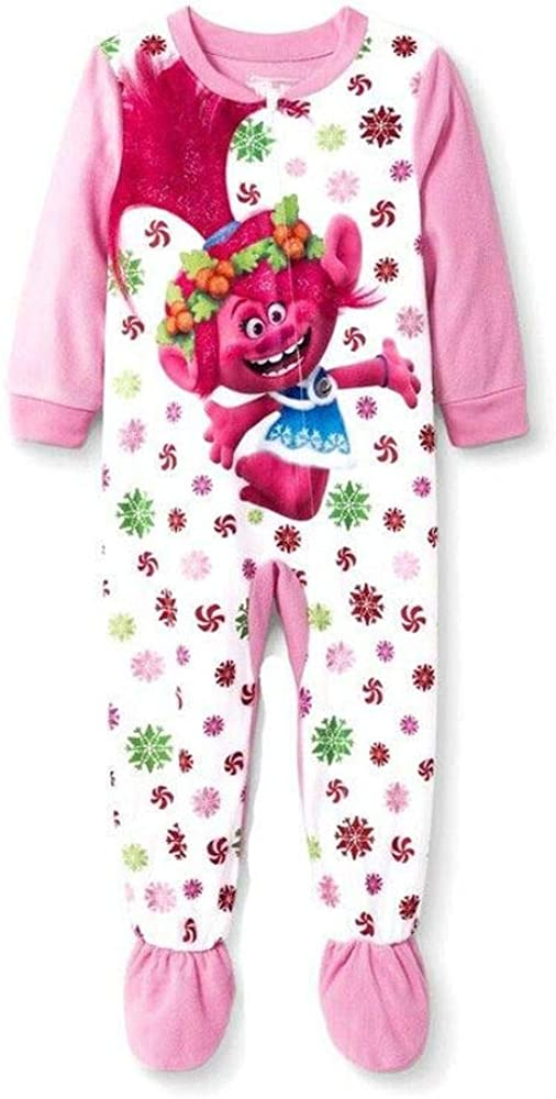 Trolls Poppy, Snowflakes and Peppermint Candy Christmas Pajama Sleeper