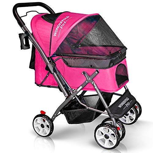 WONDERFOLD P1 Folding Pet Stroller Wagon for Dogs/Cats with 4 Wheels, Zipperless Entry, Storage Basket, and Cup Holder (Ruby Pink)