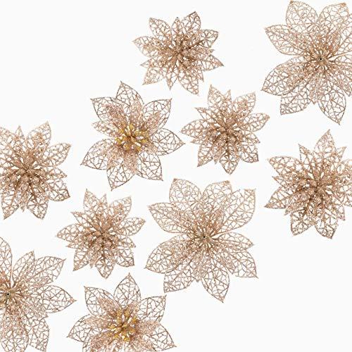 Naler 24 Flores Artificiales Decorativas Navidad Poinsettia Artificial de Purpurina Adorno de Árbol de Navidad (Color Champán, 8cm, 10cm, 15cm)