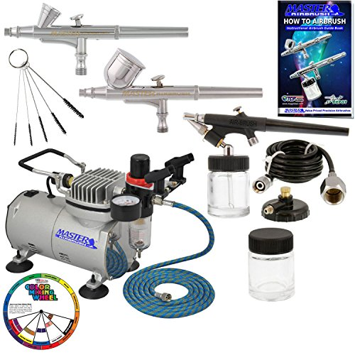 Master Airbrush Cool Runner II Dual Fan Air Compressor Professional Airbrushing System Kit with 3 Airbrushes, Gravity and Siphon Feed - Holder, Color Mixing Wheel, Cleaning Brush Set, How-To Guide