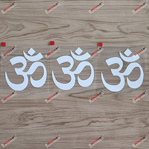 3S MOTORLINE 7,6 cm Yoga Om Ohm Symbol Aufkleber Indien, Auto, Vinyl, Weiß SDA 1