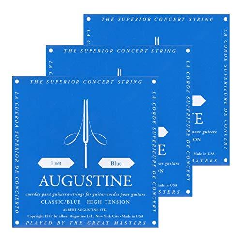 Augustine 3x Blue Saitensatz (Stark) Nylon-Konzert-Klassik-Gitarre-Saiten-Satz