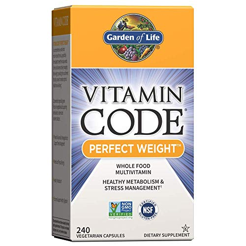 Garden of Life Vitamin Code Perfect Weight Multivitamin for Women and Men, Healthy Active Metabolism, Stress Management, Weight Loss Support, Vitamins Ashwagandha, Green Tea and Enzymes, 240 Capsules