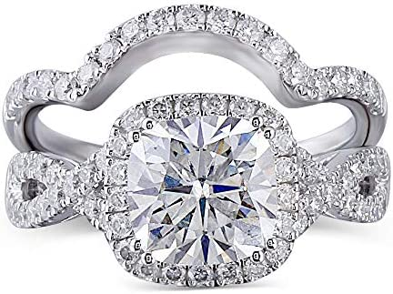 DovEggs Sterling Silver Center 2ct 7 5X7 5mm G H I Color Cushion Cut Created Moissanite Halo product image