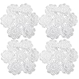 kilofly Juego de manteles individuales de encaje de algodón de ganchillo, 4 piezas, blanco, flores, 25,4 cm
