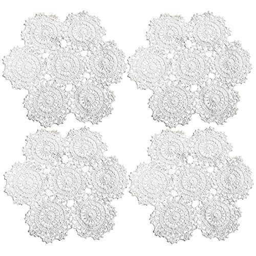 kilofly Lot de 4 napperons de table en dentelle de coton au crochet, blanc, fleurs, 25,4 cm