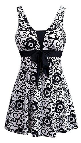 Wantdo Women's Swimsuit One-Piece Wrapped Chest Swimwear Beachwear Plus Size Black Porcelain US 18W-20W