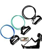 MSPORTS Tube Expander Premium 3-delige set | Resistance Band met schuimrubberen handgrepen in 3 verschillende Sterken incl. Workout app, voor yoga pilates fitness krachttraining.