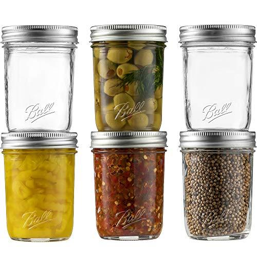 Ball Regular Mouth Mason Jar 8 oz [Set of 6] Canning Jars With Airtight lids and Bands - For Canning, Fermenting, Pickling - Glass jar, Microwave & Dishwasher Safe - Bundled With SEWANTA Jar Opener.