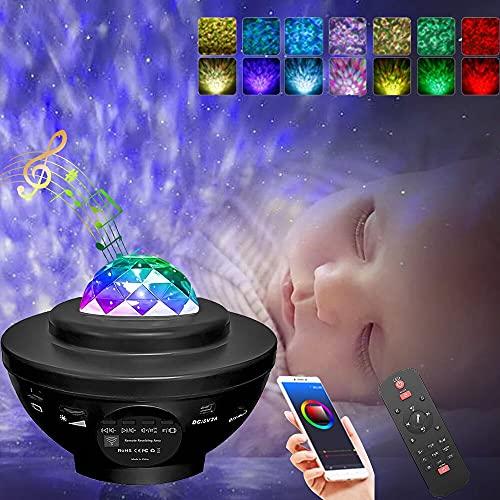 Plartree Projecteur Ciel Etoile,Projecteur LED Veilleuse Enfant Rotatif 21 Modes avec Haut-Parleur Bluetooth Télécommande Minuterie, Projecteur Océan Starry Veilleuse pour Enfants/Halloween Décoration