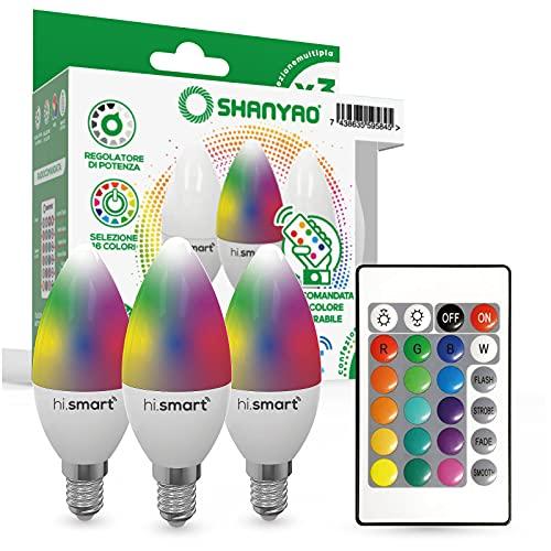Shanyao - 3 Lampadine candela C37 LED Hi.Smart attacco E14 5W RGB regolabile con Telecomando[Classe di efficienza energetica A++]