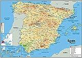 JYTD 1000 Piezas Adulto Rompecabezas de Madera-Regalo-DIY Decorativo Rompecabezas Regalo Rompecabezas Juego Casual-España Mapa físico 75 * 50CM